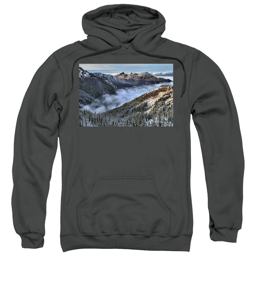 Hurricane Ridge Sweatshirt featuring the photograph Fog Below Hurricane by Adam Jewell