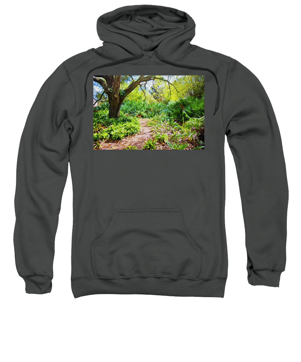 Trees Sweatshirt featuring the digital art Follow The Path by Betsy Knapp