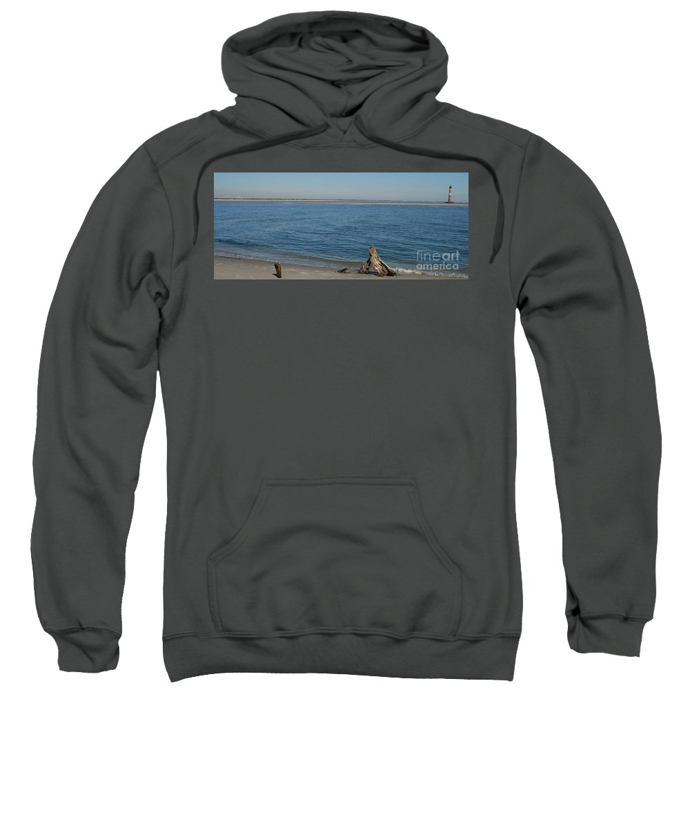 Lighthouse Sweatshirt featuring the photograph Folly And Morris Island by Melody Jones