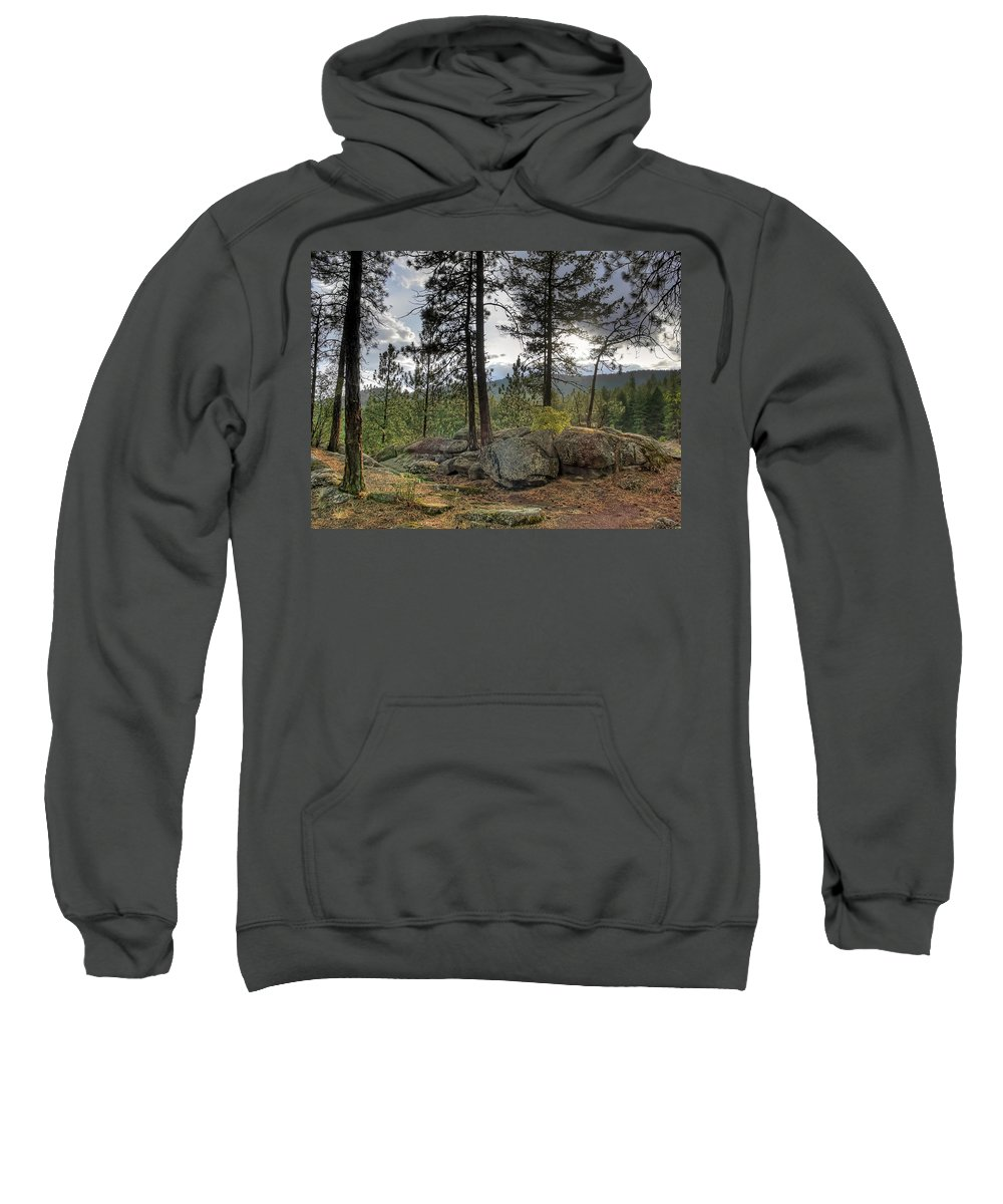 Forest Sweatshirt featuring the photograph Forest Boulder Formation Near Red Lake Washington by Daniel Hagerman