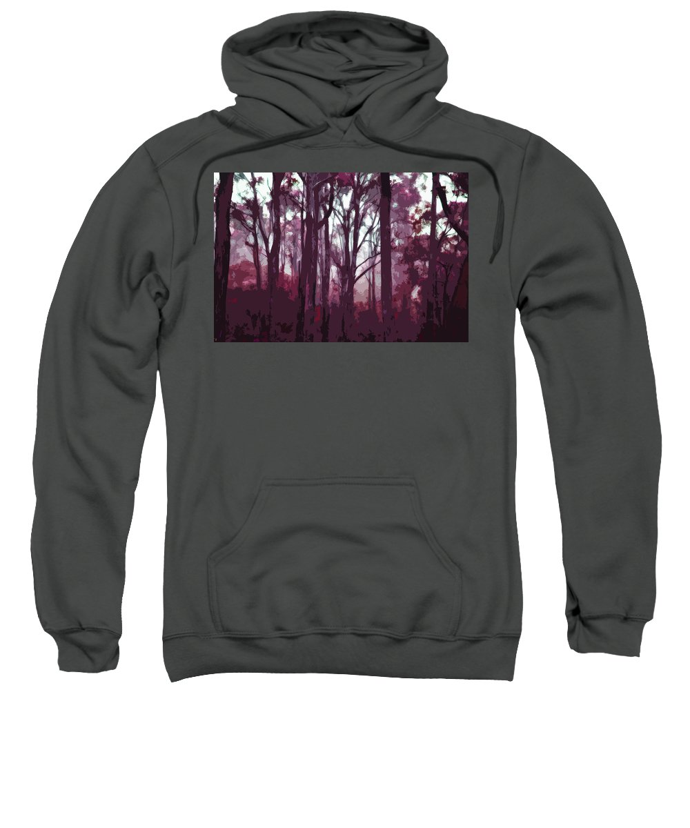 Landscapes Sweatshirt featuring the digital art Forest Of Trees In Winter Twilight by Phill Petrovic