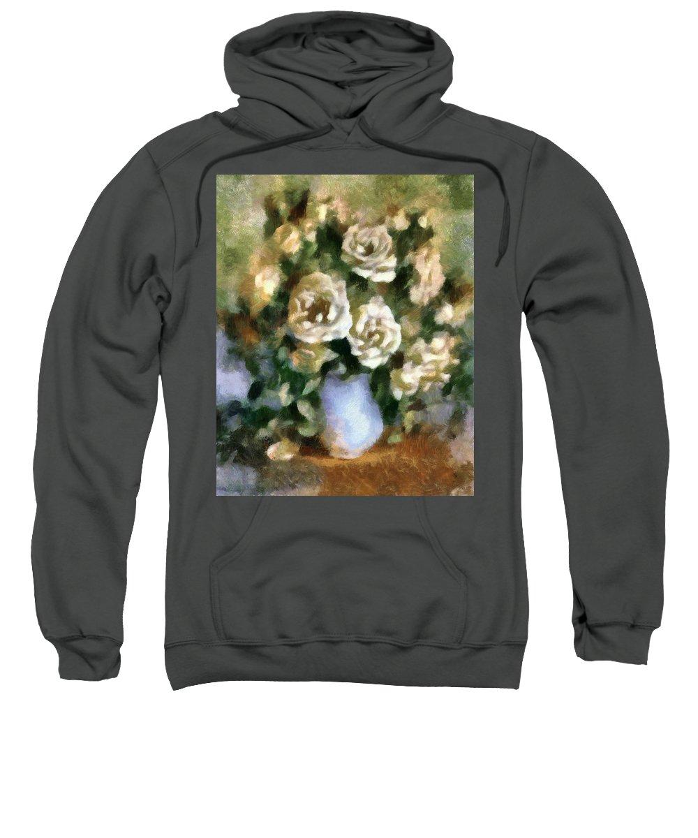 Roses Sweatshirt featuring the mixed media Fragrant Roses by Georgiana Romanovna