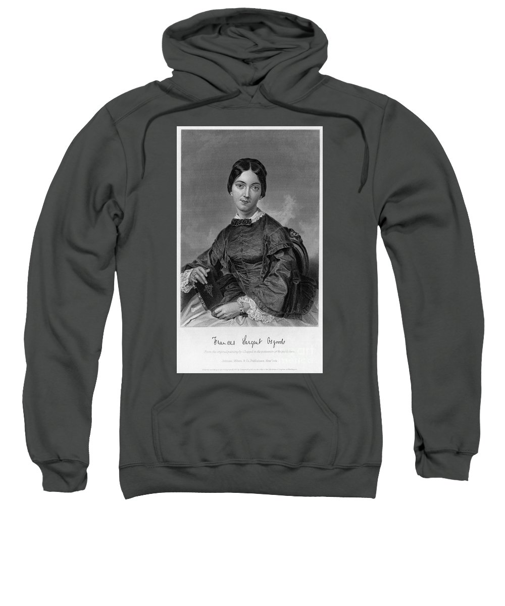 1873 Sweatshirt featuring the photograph Frances Sargent Osgood (1811-1850). American Poet. Engraving From A Painting By Alonzo Chappel, C1873 by Granger
