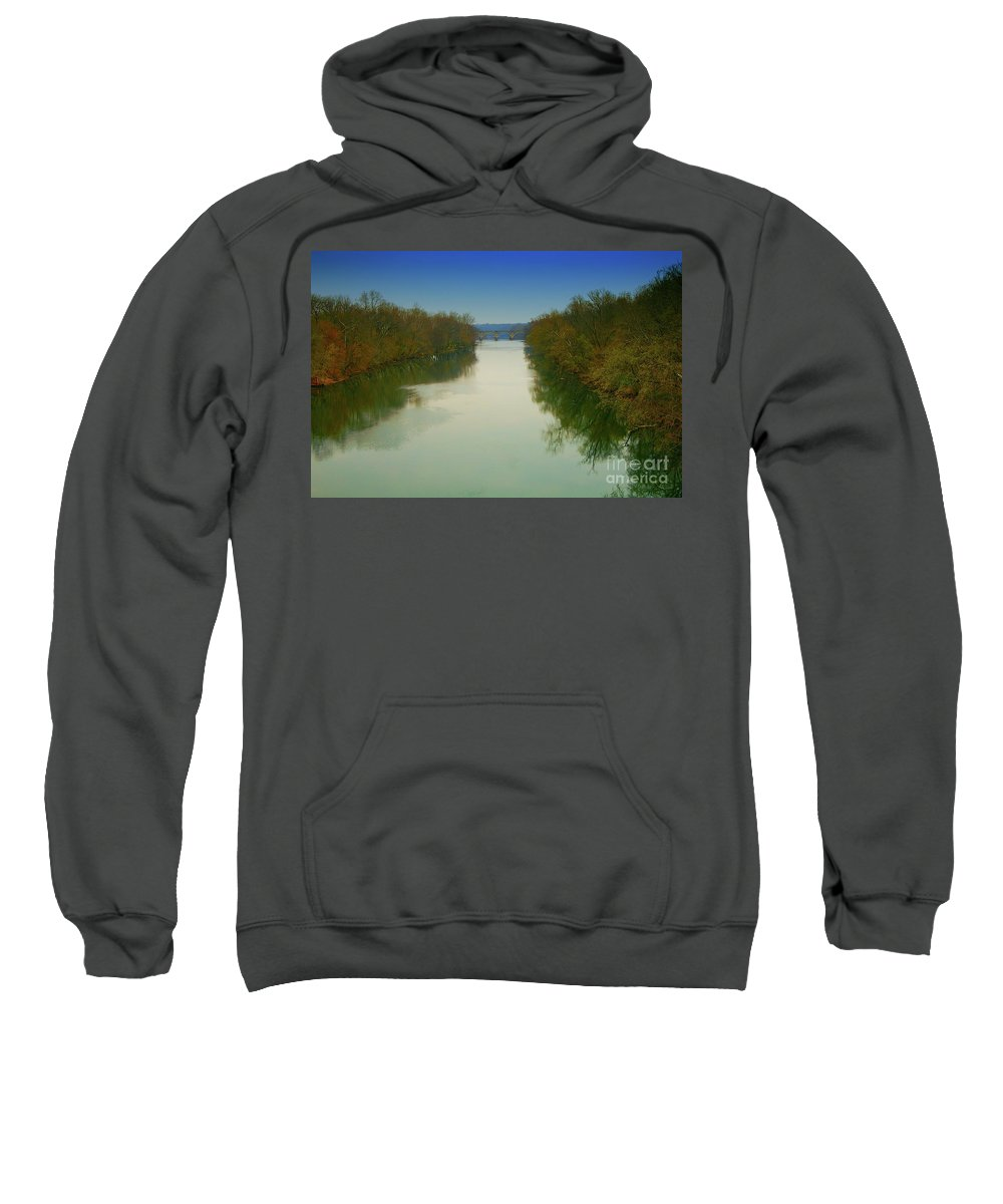 All Rights Reserved Sweatshirt featuring the photograph Fredericksburg Virginia River by Clayton Bruster