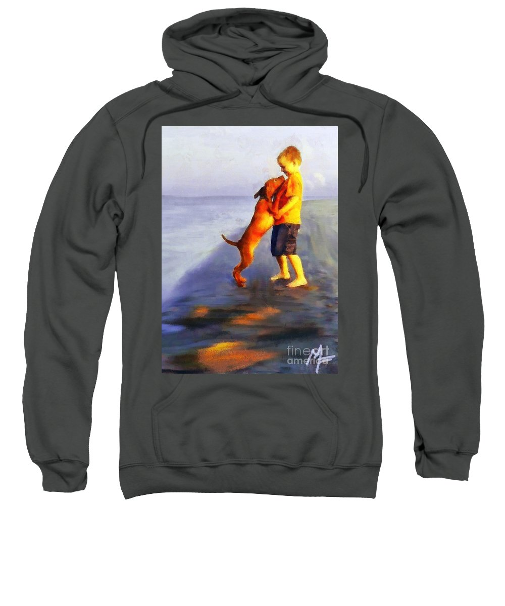 Dog Sweatshirt featuring the painting Friendship by Dragica Micki Fortuna