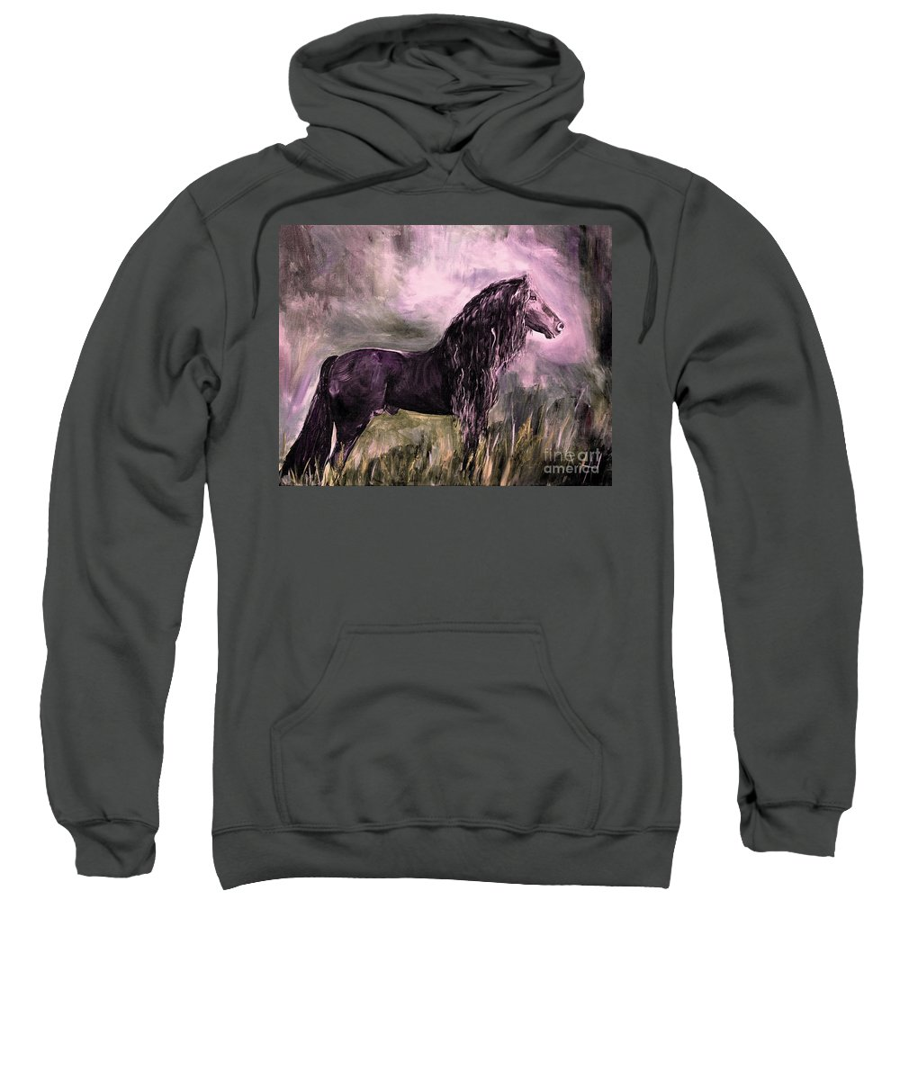 Friesian Sweatshirt featuring the painting Friesian Proud by Leslie Allen