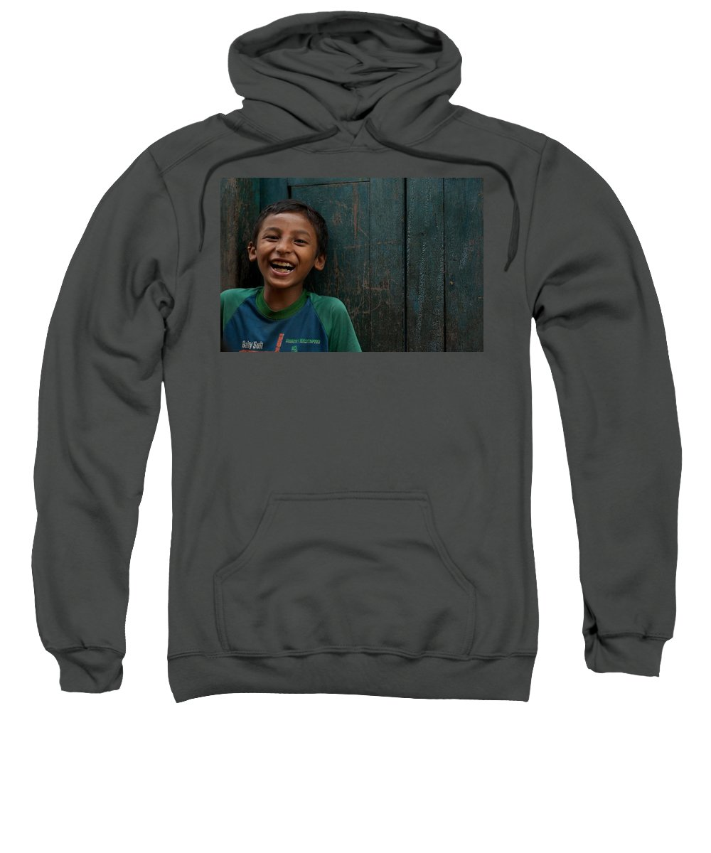 Nepal Sweatshirt featuring the photograph Giggles Against The Wall by Valerie Rosen