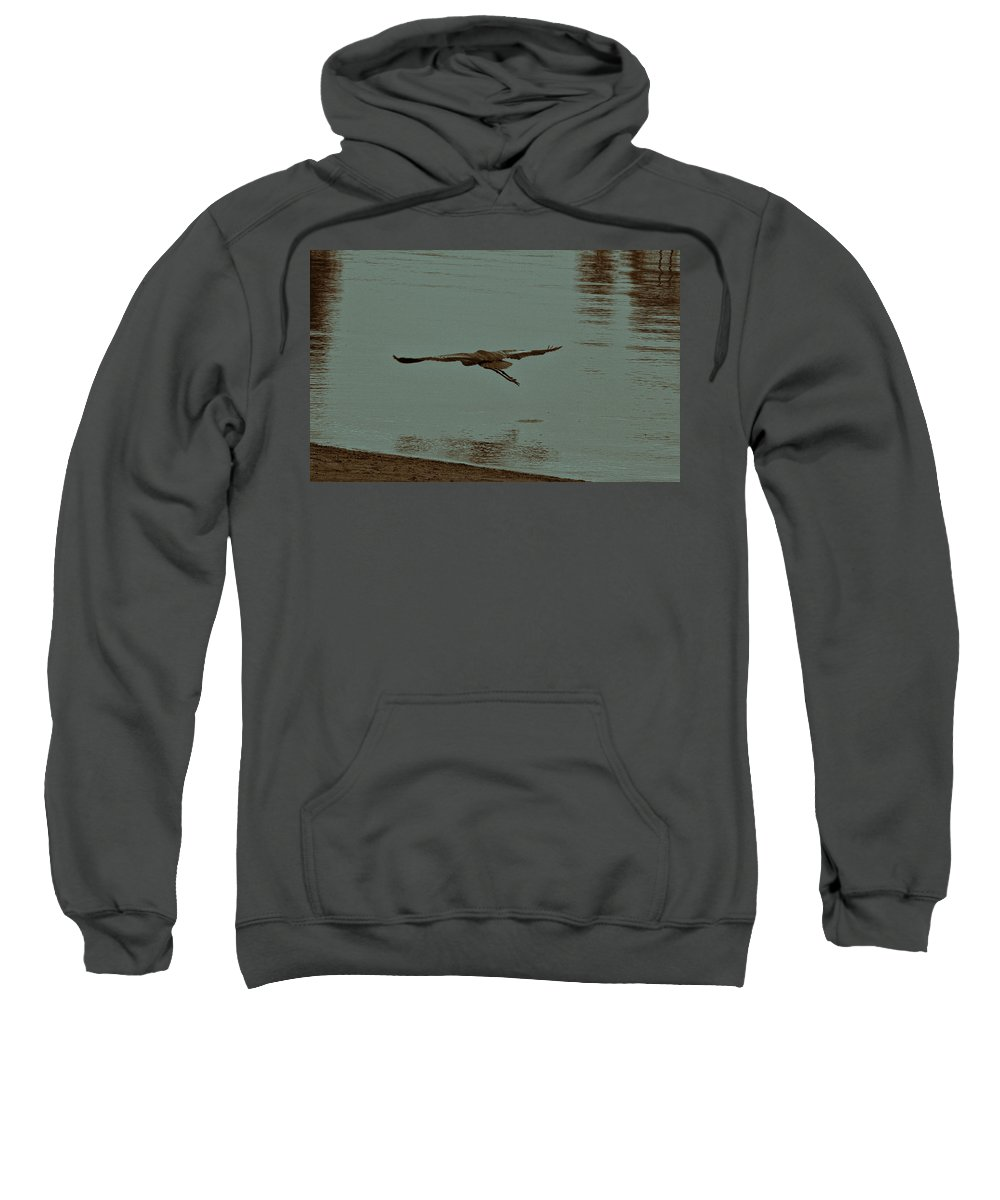 Blue Heron Sweatshirt featuring the photograph Gliding Inches Above The Water by Douglas Barnard