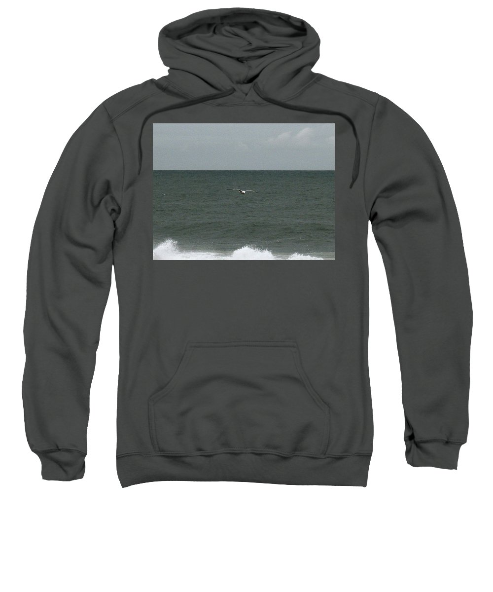 Seagull Sweatshirt featuring the photograph Gliding Over The Waves by Linda Hutchins