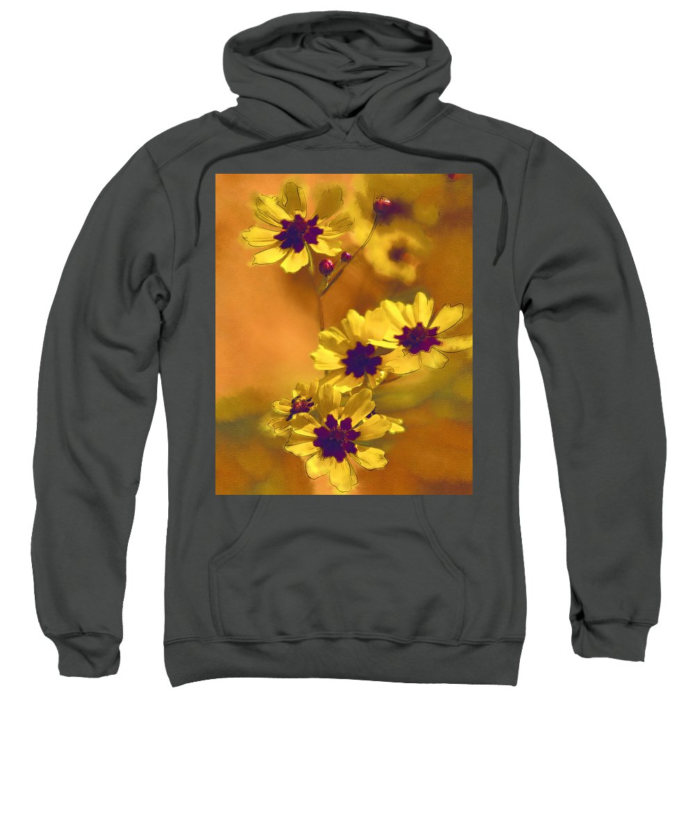 Coreopsis Tinctoria Sweatshirt featuring the photograph Golden Coreopsis Wildflowers by Kathy Clark