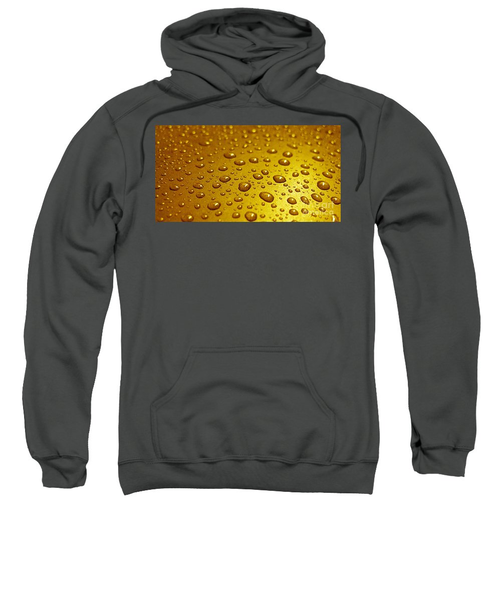 Bubble Sweatshirt featuring the photograph Golden Water Drops. Business Card. Invitation Etc. by Ausra Huntington nee Paulauskaite