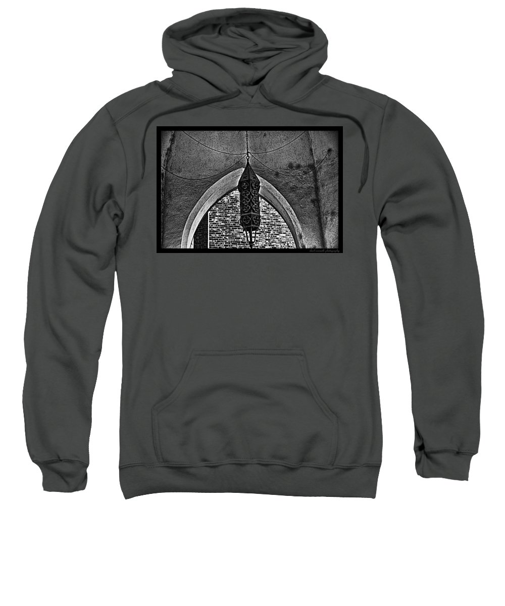 Black And White Sweatshirt featuring the photograph Grayscale Lantern by Sheri Bartoszek