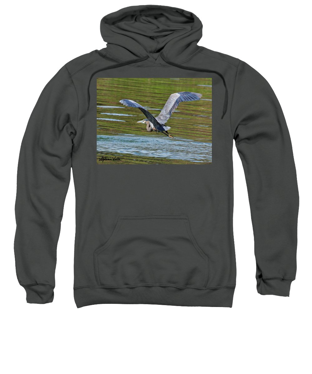 Nature Sweatshirt featuring the photograph Great Blue Heron by Stephanie Salter