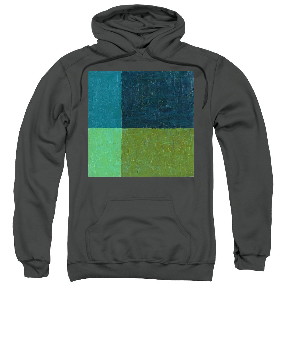 Paint Sweatshirt featuring the painting Green And Blue by Michelle Calkins