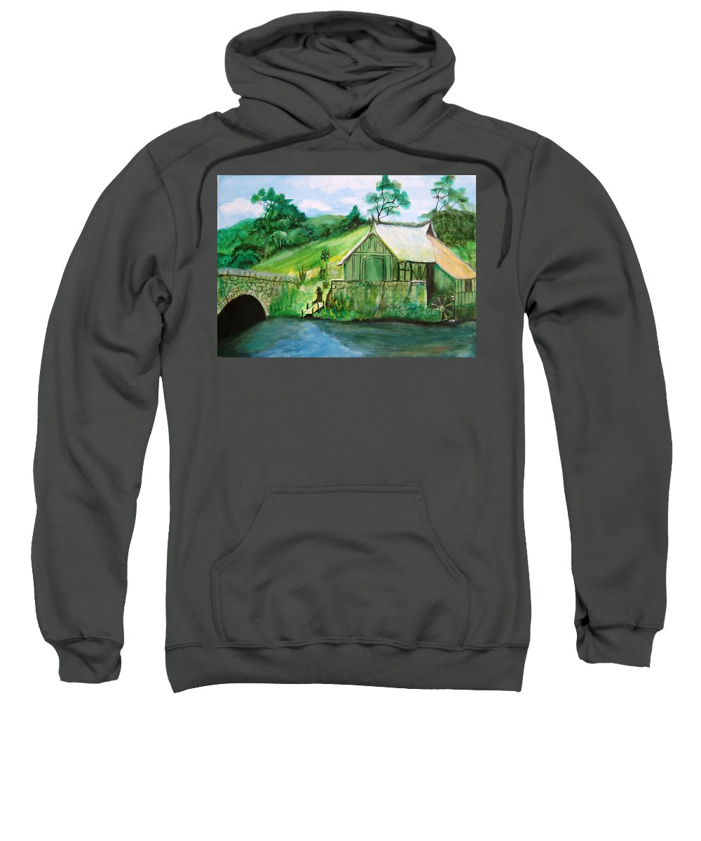 Green Sweatshirt featuring the painting Green Cottage by Manjiri Kanvinde