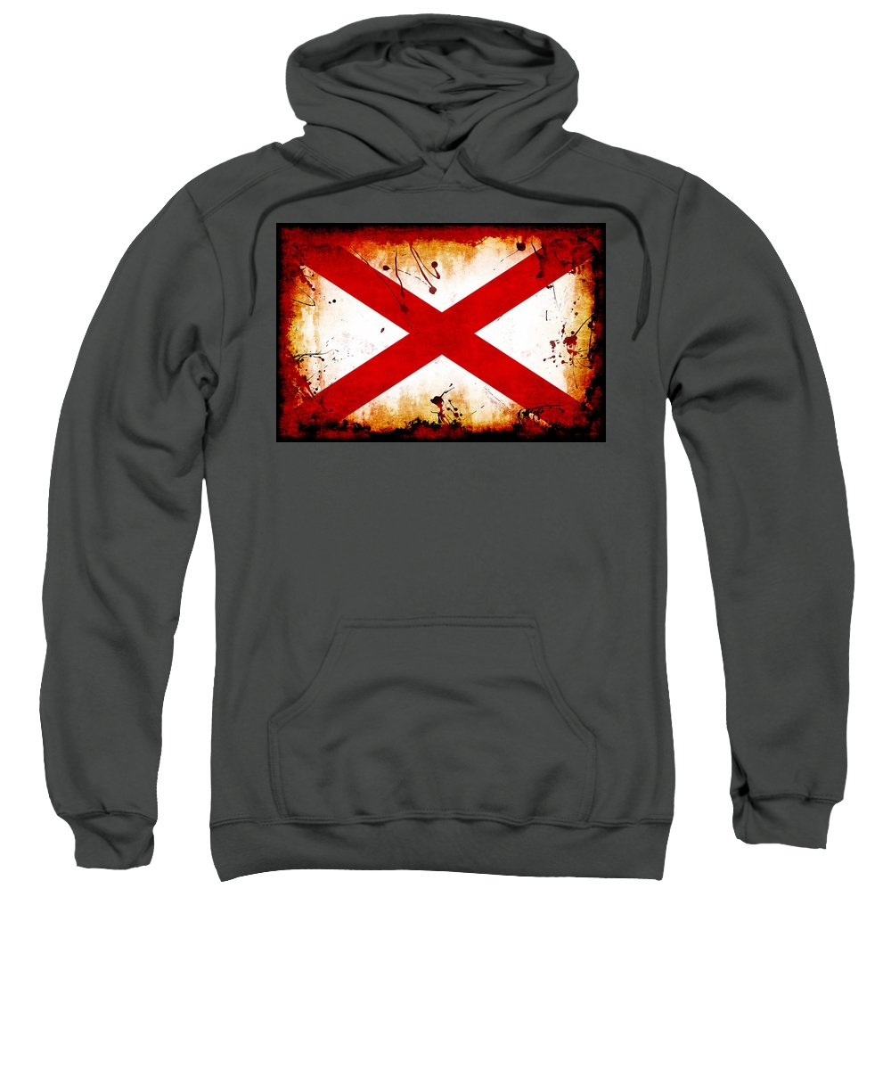 Alabama Sweatshirt featuring the photograph Grunge Style Alabama Flag by David G Paul