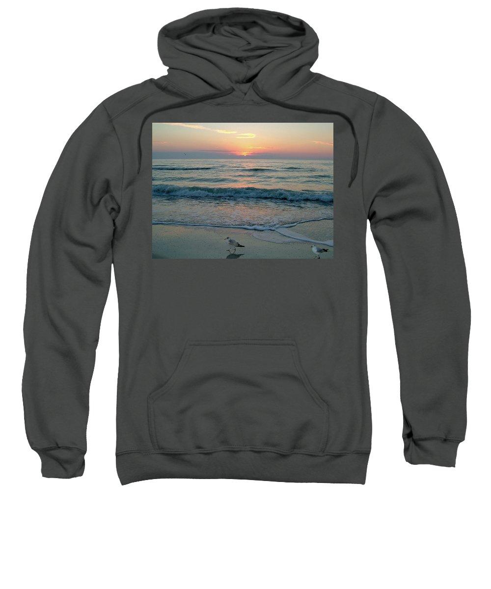 Gulls Sweatshirt featuring the photograph Gulls At Sunset On The Gulf by Susan Wyman