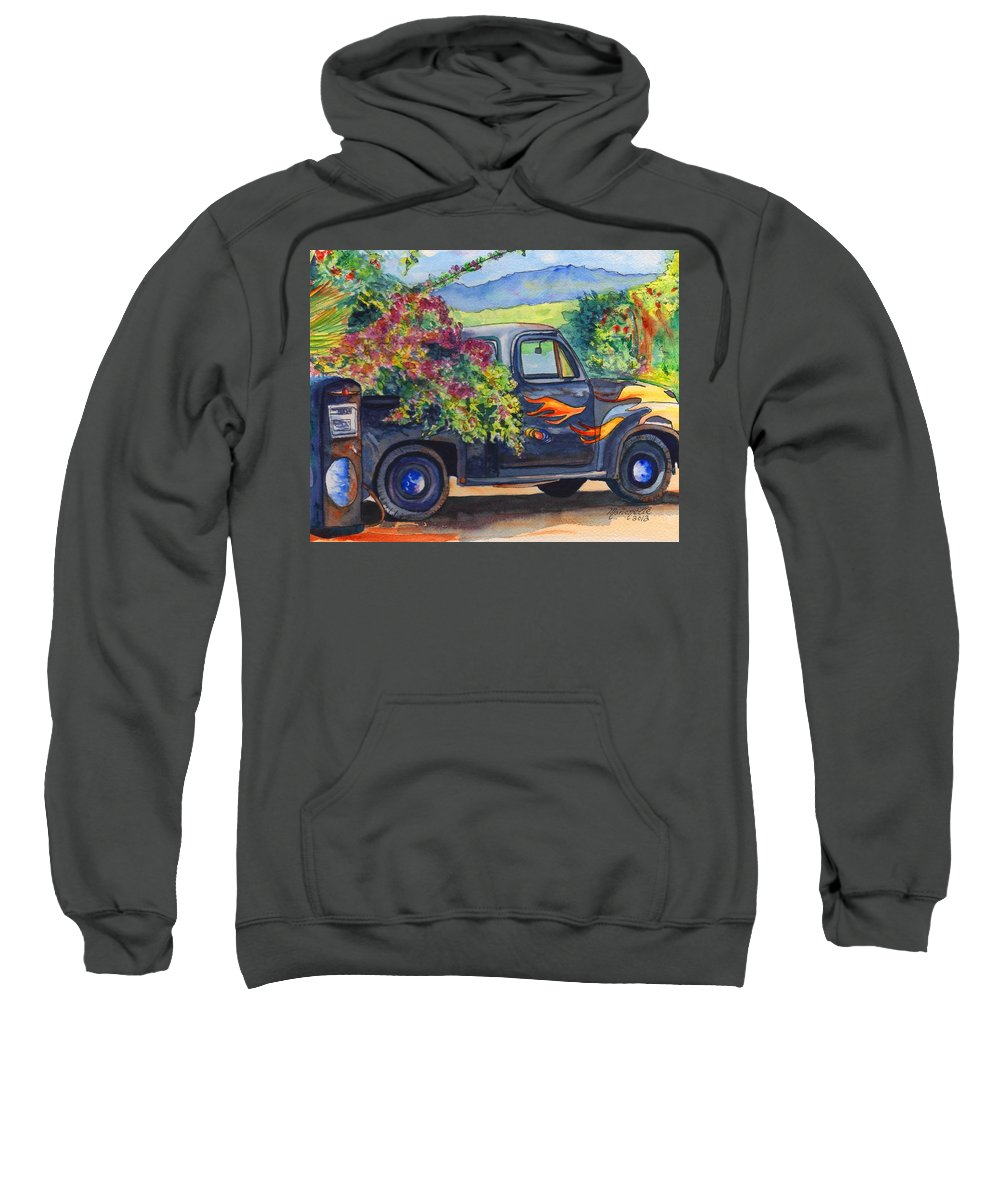 Hanapepe Sweatshirt featuring the painting Hanapepe Truck by Marionette Taboniar