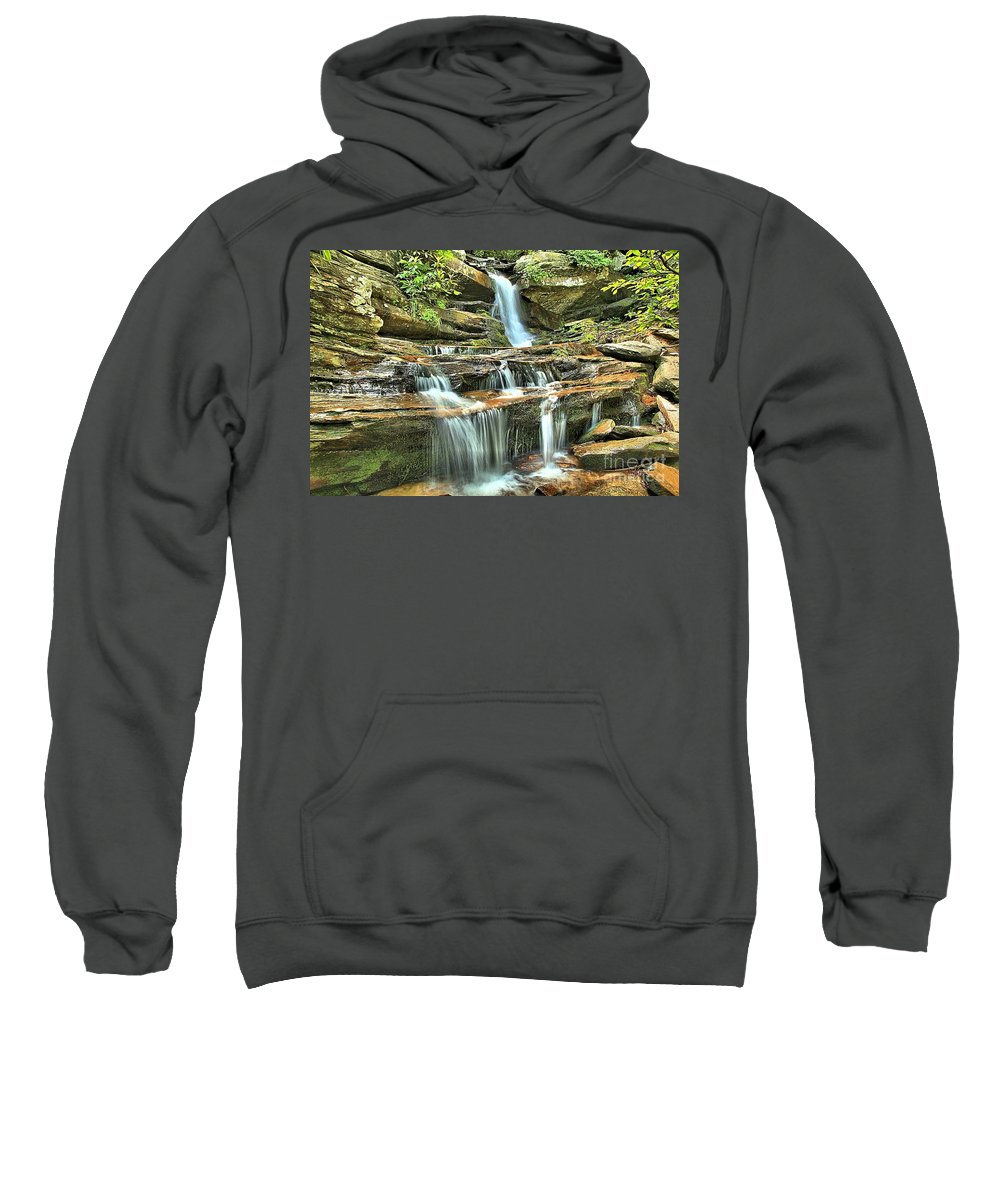 Hanging Rock State Park Sweatshirt featuring the photograph Hanging Rock Cascades by Adam Jewell