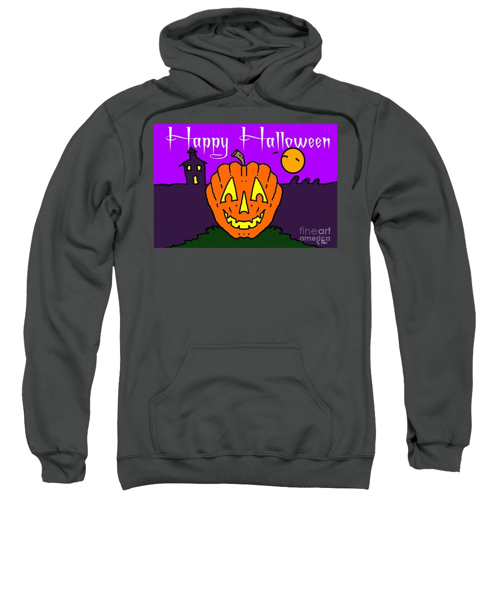 Happy Sweatshirt featuring the painting Happy Halloween 2 by George Pedro