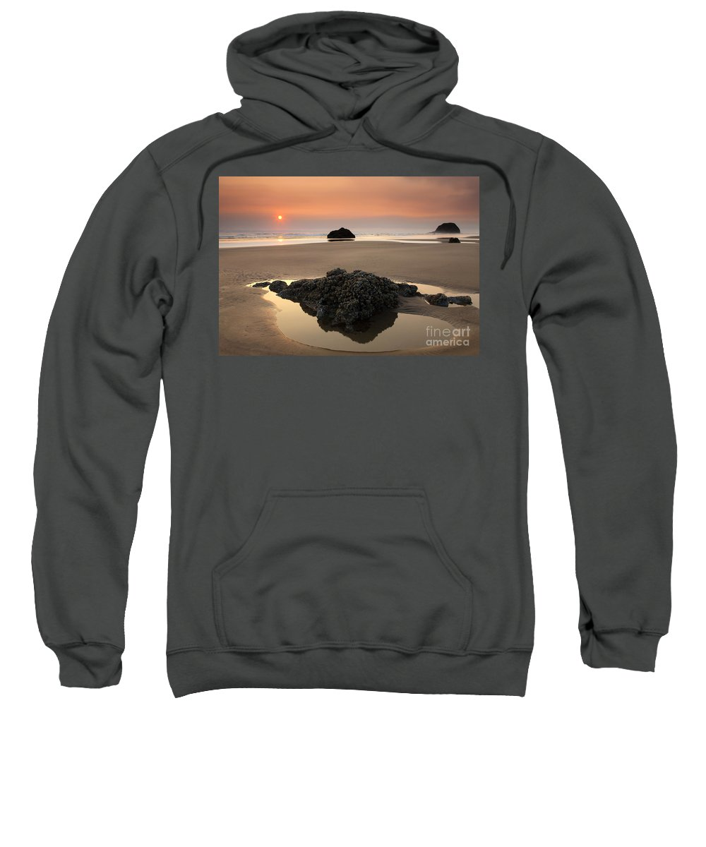 Arcadia Beach Sweatshirt featuring the photograph Hazy Oregon Sunset by Mike Dawson