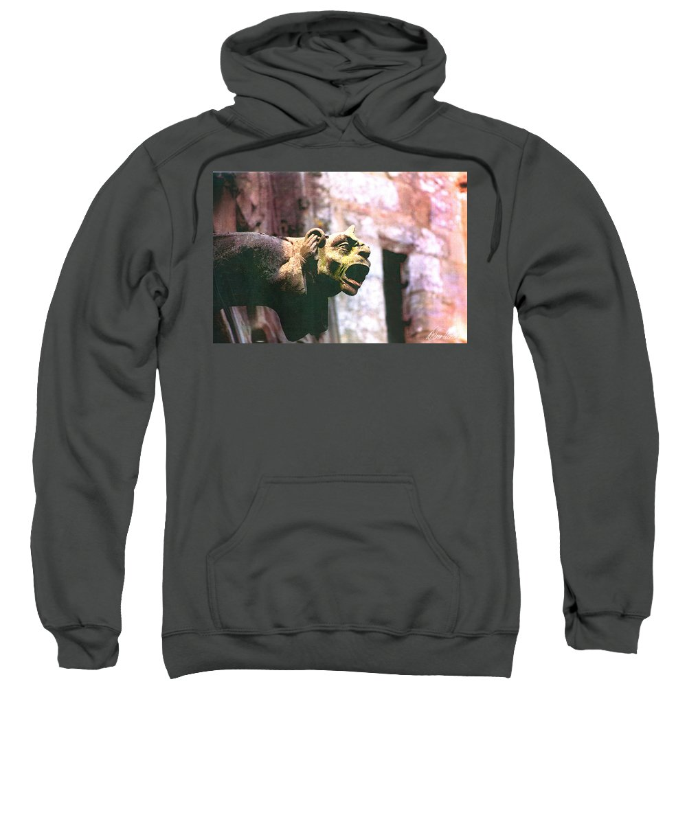 Gargoyle Sweatshirt featuring the photograph Hear No Evil by Diana Haronis