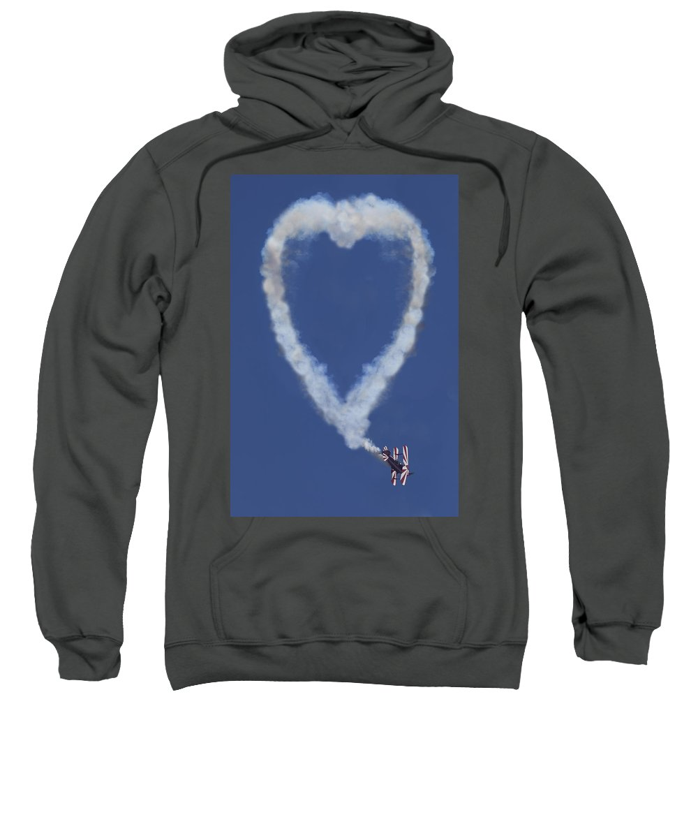 Plane Sweatshirt featuring the photograph Heart Shape Smoke And Plane by Garry Gay