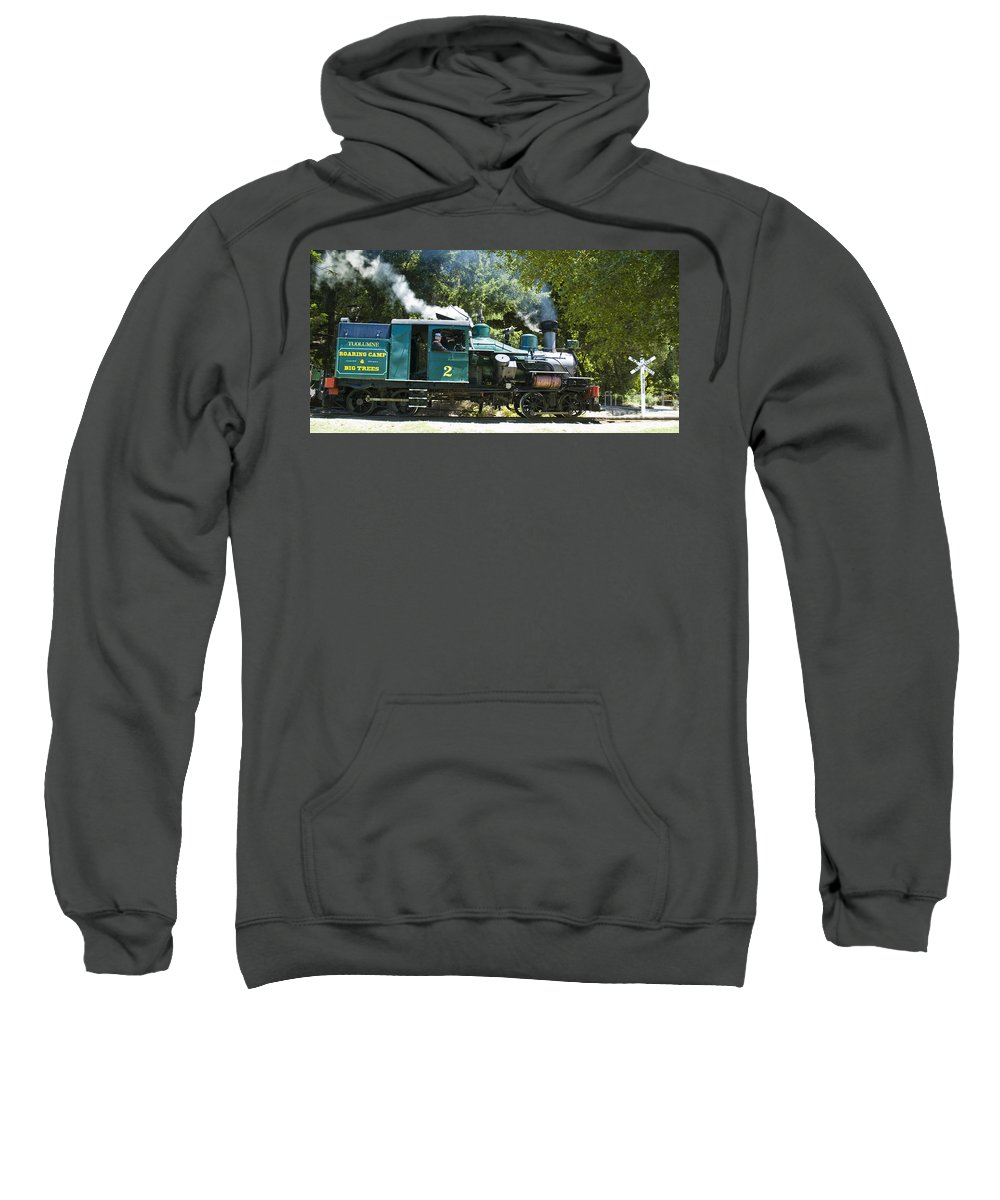 Roaring Camp & Big Trees Sweatshirt featuring the photograph Heisler Steaming by Tim Mulina