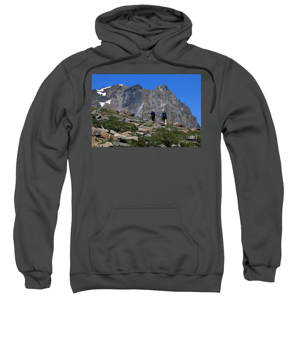 Hikers Sweatshirt featuring the photograph Hiking In Jasper by Vivian Christopher