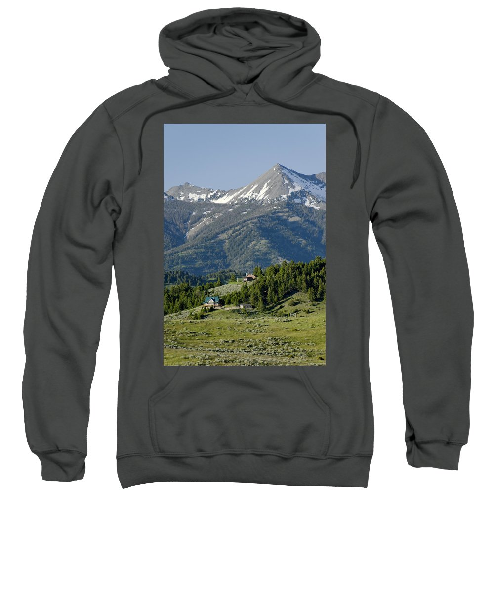 Americas Sweatshirt featuring the photograph Hillside Cabins by Roderick Bley