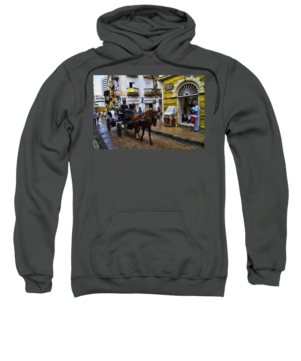 Cartagena Sweatshirt featuring the photograph Horse And Buggy In Old Cartagena Colombia by David Smith