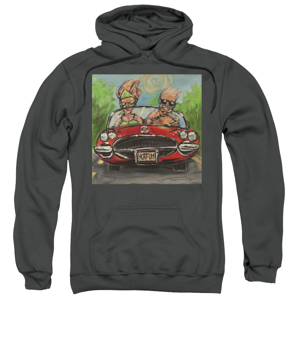 Convertible Sweatshirt featuring the painting Hot Fun Corvette by Tim Nyberg