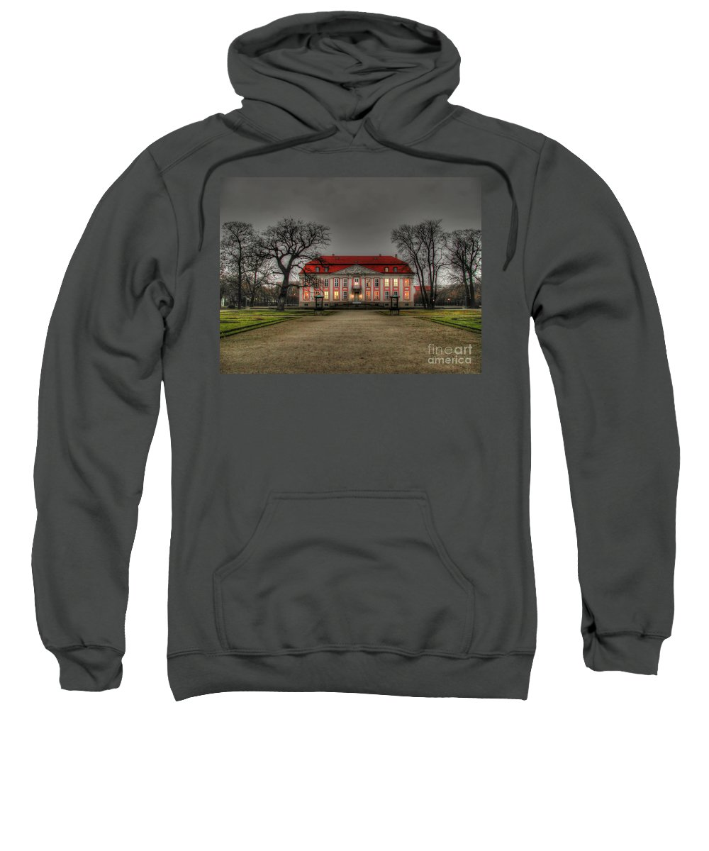 House Sweatshirt featuring the photograph House Illuminated And With Trees Branches by Mats Silvan