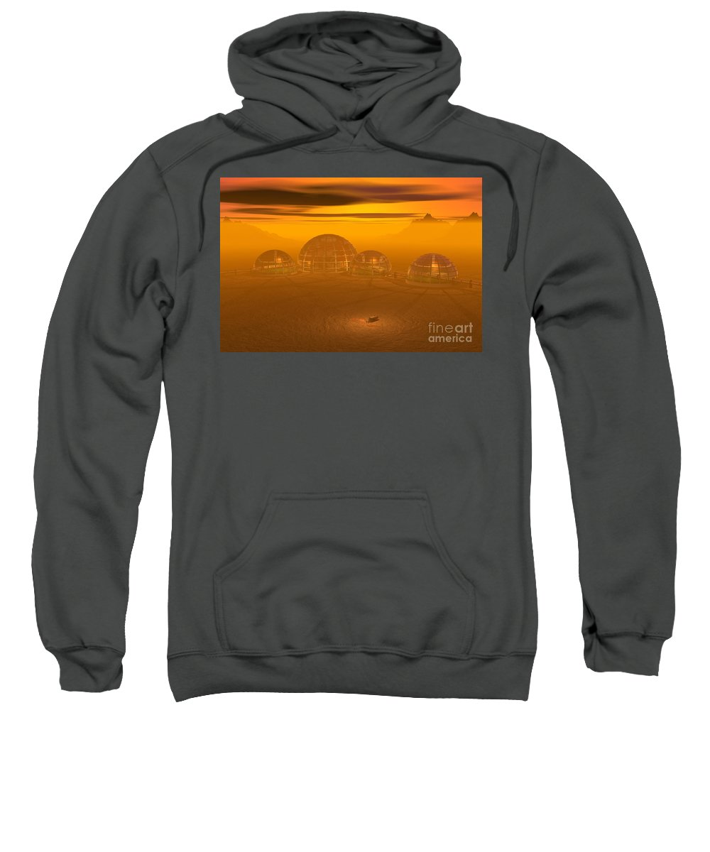 Artist's Concept Sweatshirt featuring the digital art Human Settlement On Alien Planet by Carol and Mike Werner and Photo Researchers