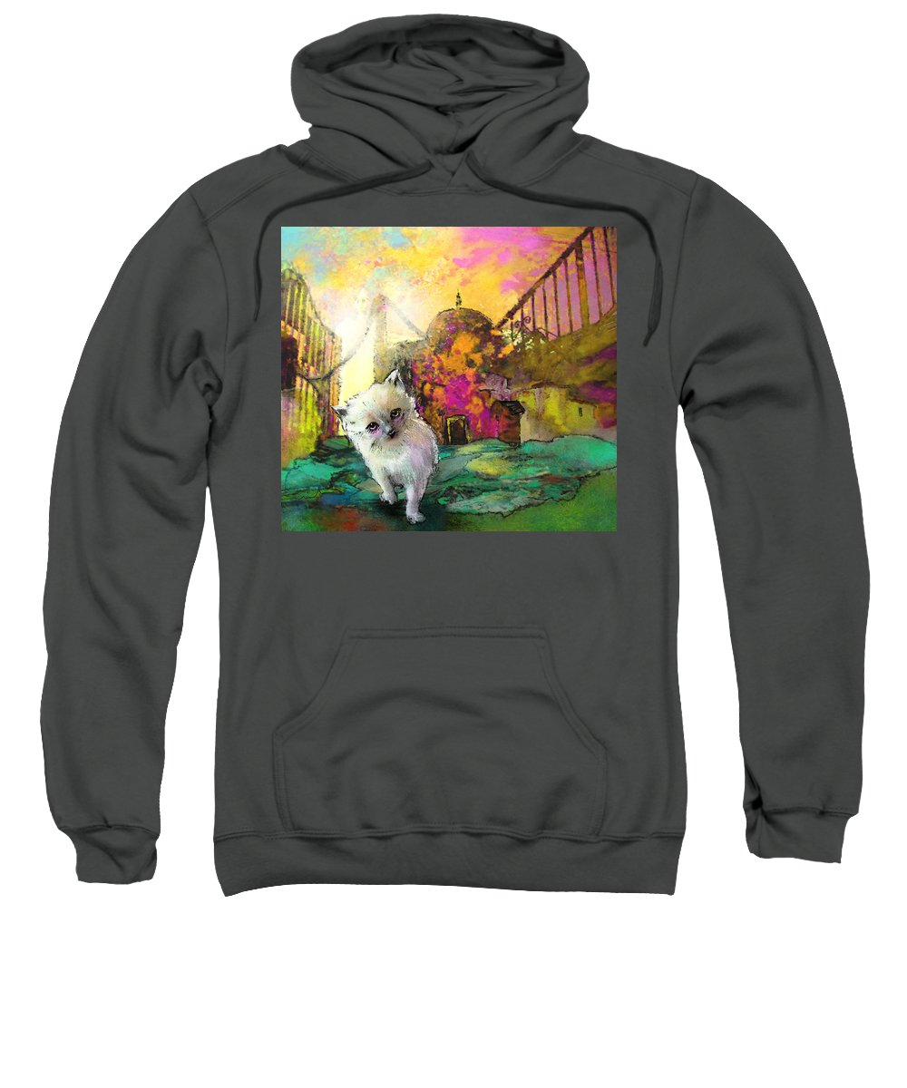 Animals Sweatshirt featuring the painting I Think I Am Lost by Miki De Goodaboom