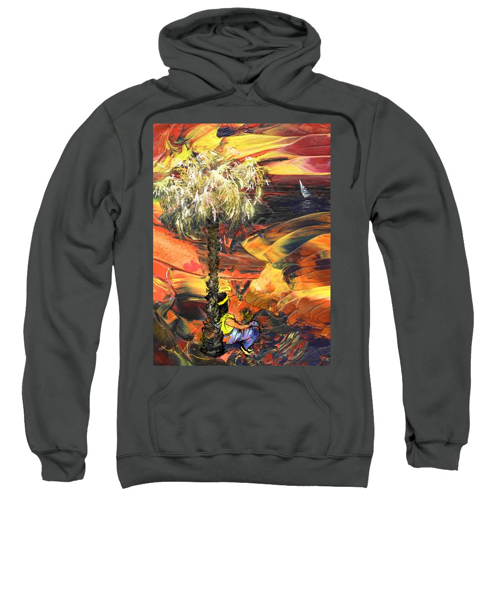 Dream Sweatshirt featuring the painting I Wish I Were There by Miki De Goodaboom