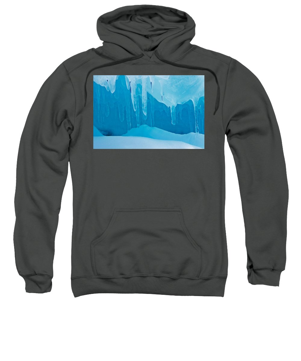 Bruce Peninsula Sweatshirt featuring the photograph Ice Detail On Bruce Peninsula, Georgian by Mike Grandmailson