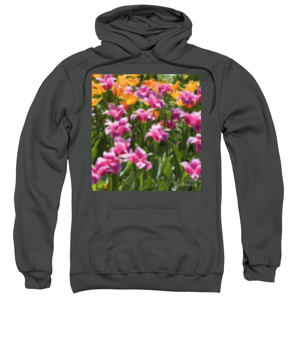 Impressionist Sweatshirt featuring the photograph Impressionist Tulips In A Field by Tim Mulina