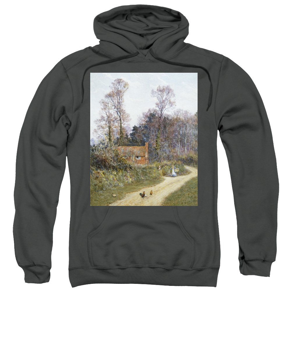 English; Landscape; C19th; C20th; Victorian; Country; Road; Cottage; Female; Women; Gossiping; Chickens Sweatshirt featuring the painting In A Witley Lane by Helen Allingham