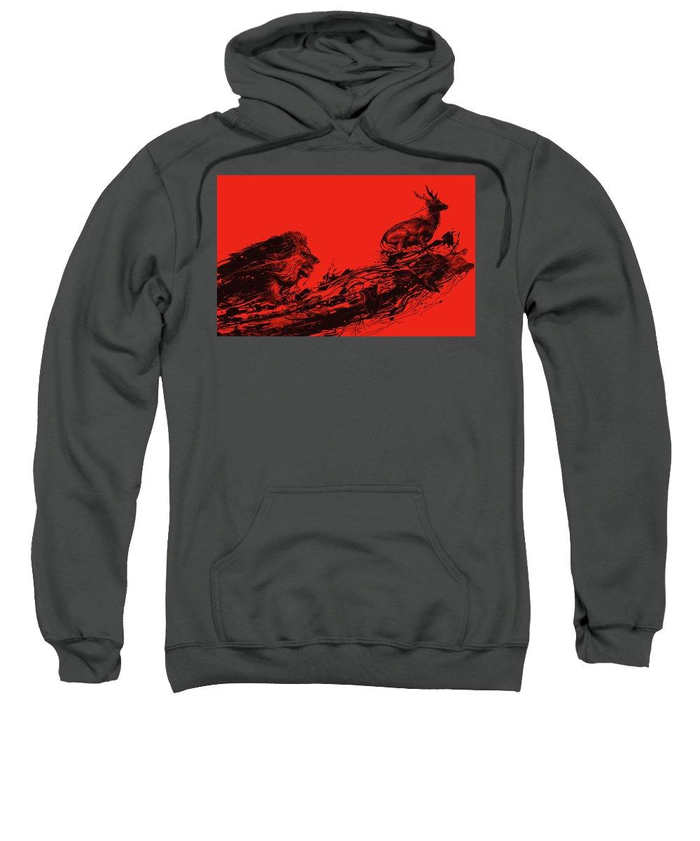 Lion Sweatshirt featuring the digital art Intense Chasing by Nicebleed
