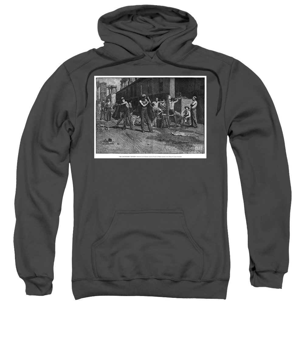 1884 Sweatshirt featuring the photograph Iron Workers, 1884 by Granger
