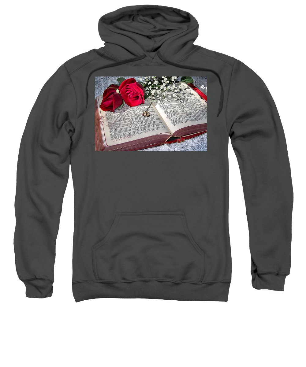 Bible Sweatshirt featuring the photograph Its All There In Black And White by Nadine Lewis