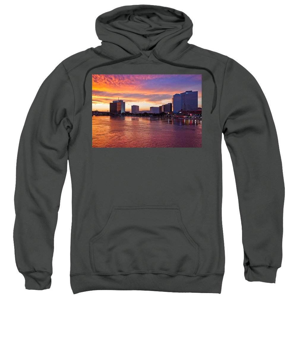 Clouds Sweatshirt featuring the photograph Jacksonville Skyline At Dusk by Debra and Dave Vanderlaan