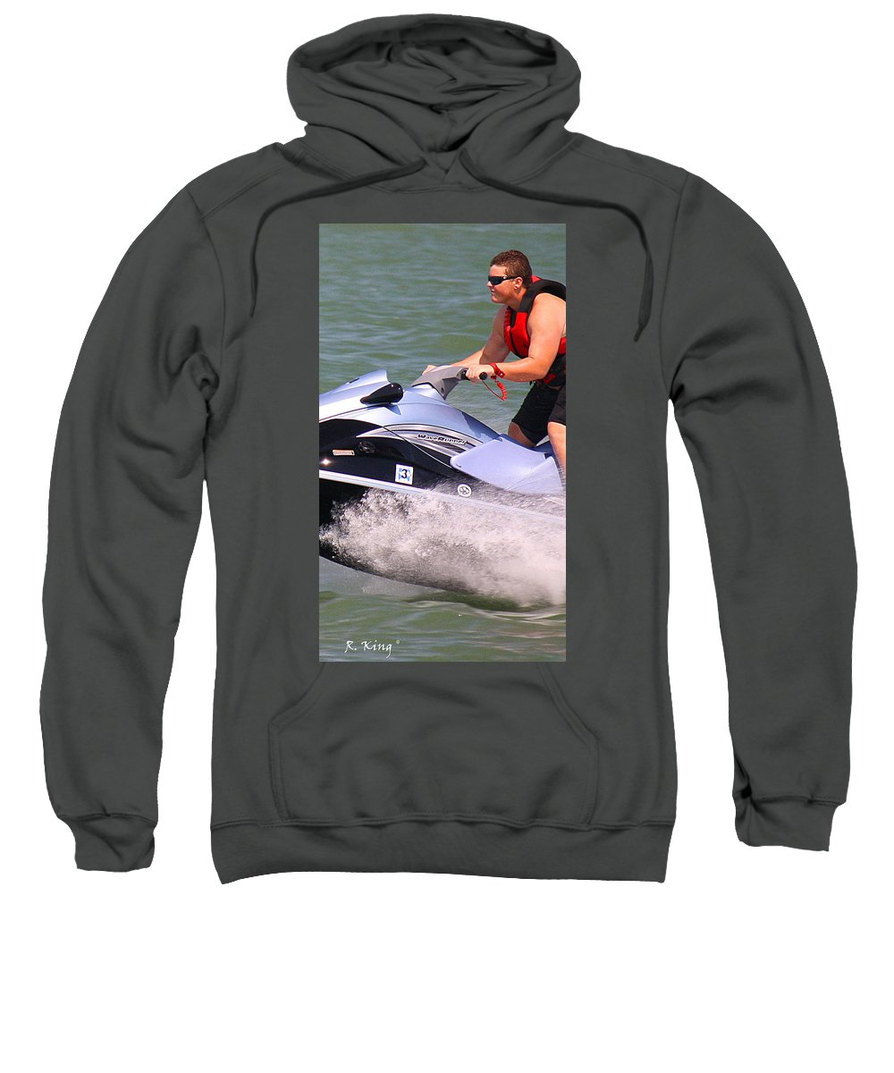 Roena King Sweatshirt featuring the photograph Jet Ski Speed by Roena King