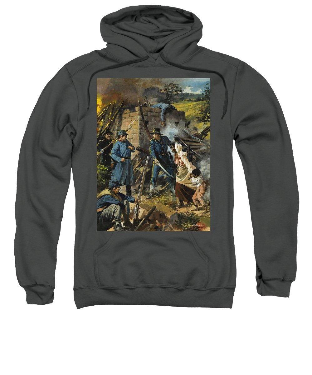 Abolitionist Sweatshirt featuring the painting John Brown On 30 August 1856 Intercepting A Body Of Pro-slavery Men by Andrew Howart