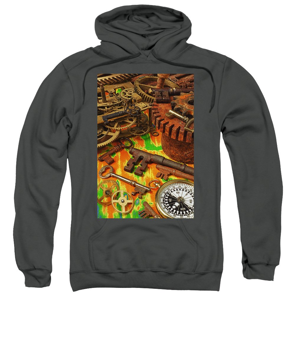Old Sweatshirt featuring the photograph Keys Gears And Compass by Garry Gay