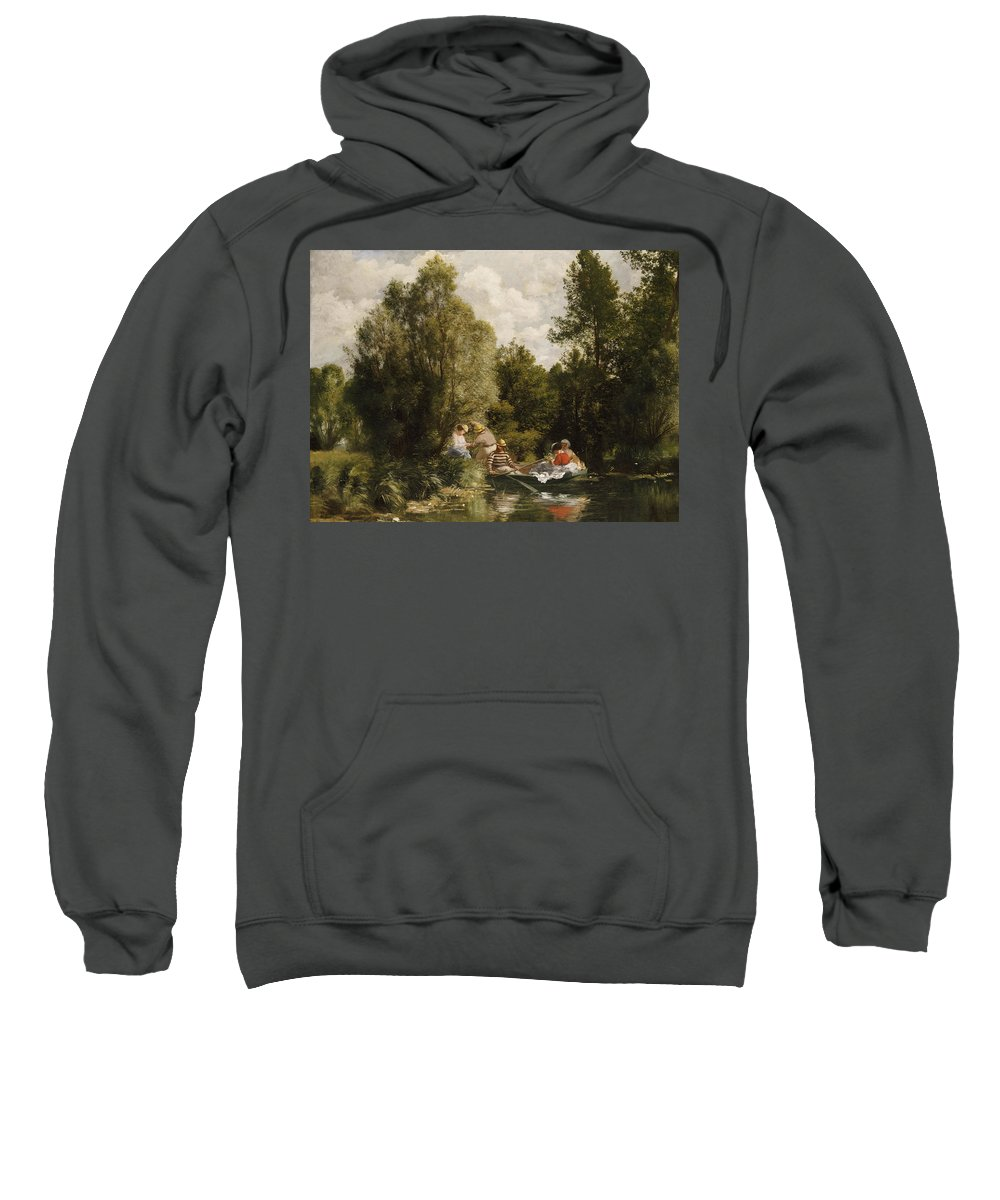 Impressionist; Impressionism; Boat; Boating; Male; Female; Tree; River; Grass Sweatshirt featuring the painting La Mare Aux Fees by Pierre Auguste Renoir