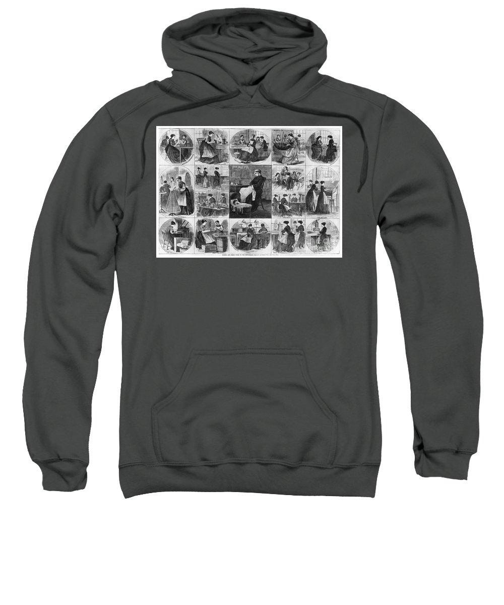 1868 Sweatshirt featuring the photograph Labor: Women, 1868 by Granger