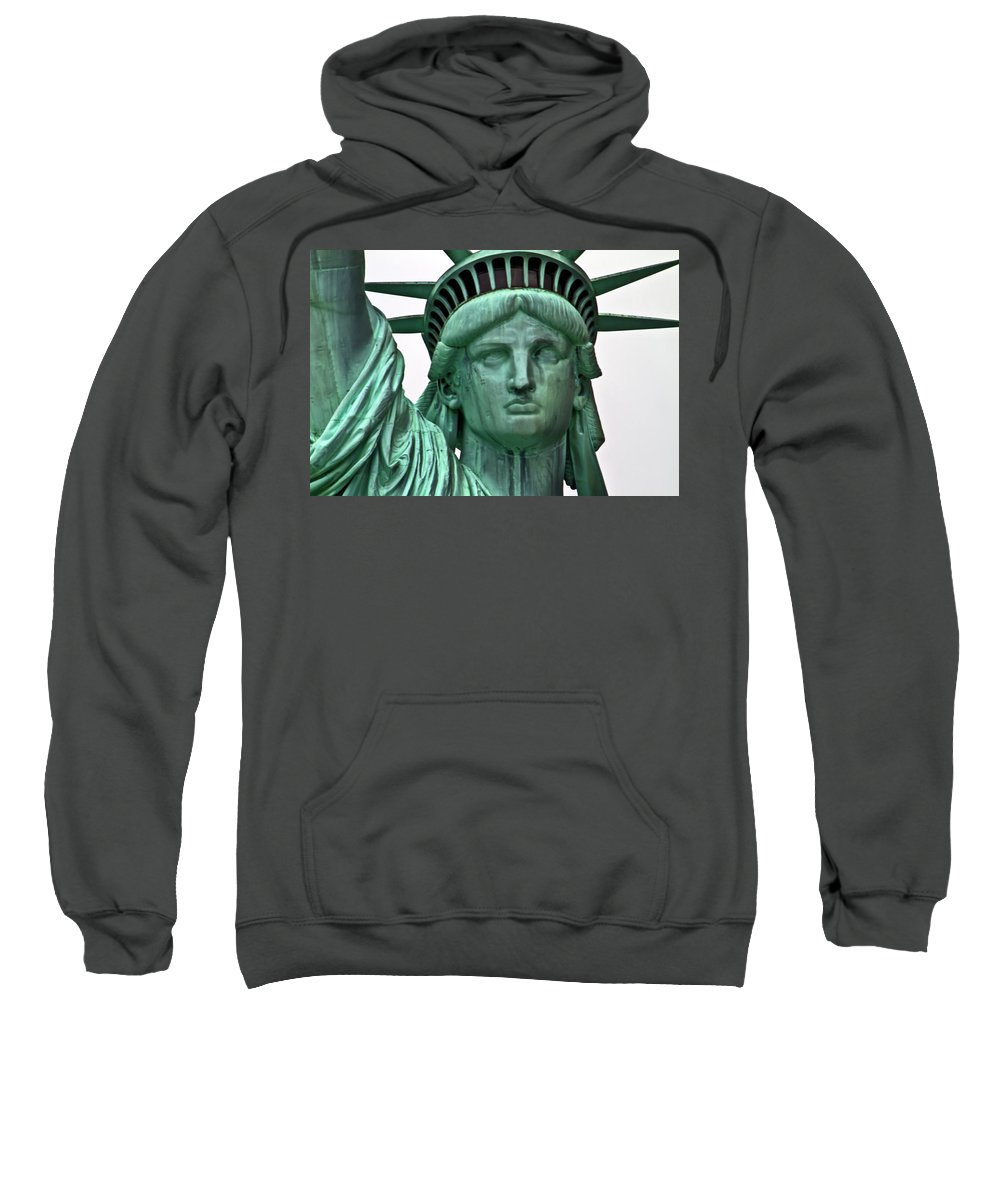 Statue Sweatshirt featuring the photograph Lady Liberty Up Close by Bill Lindsay