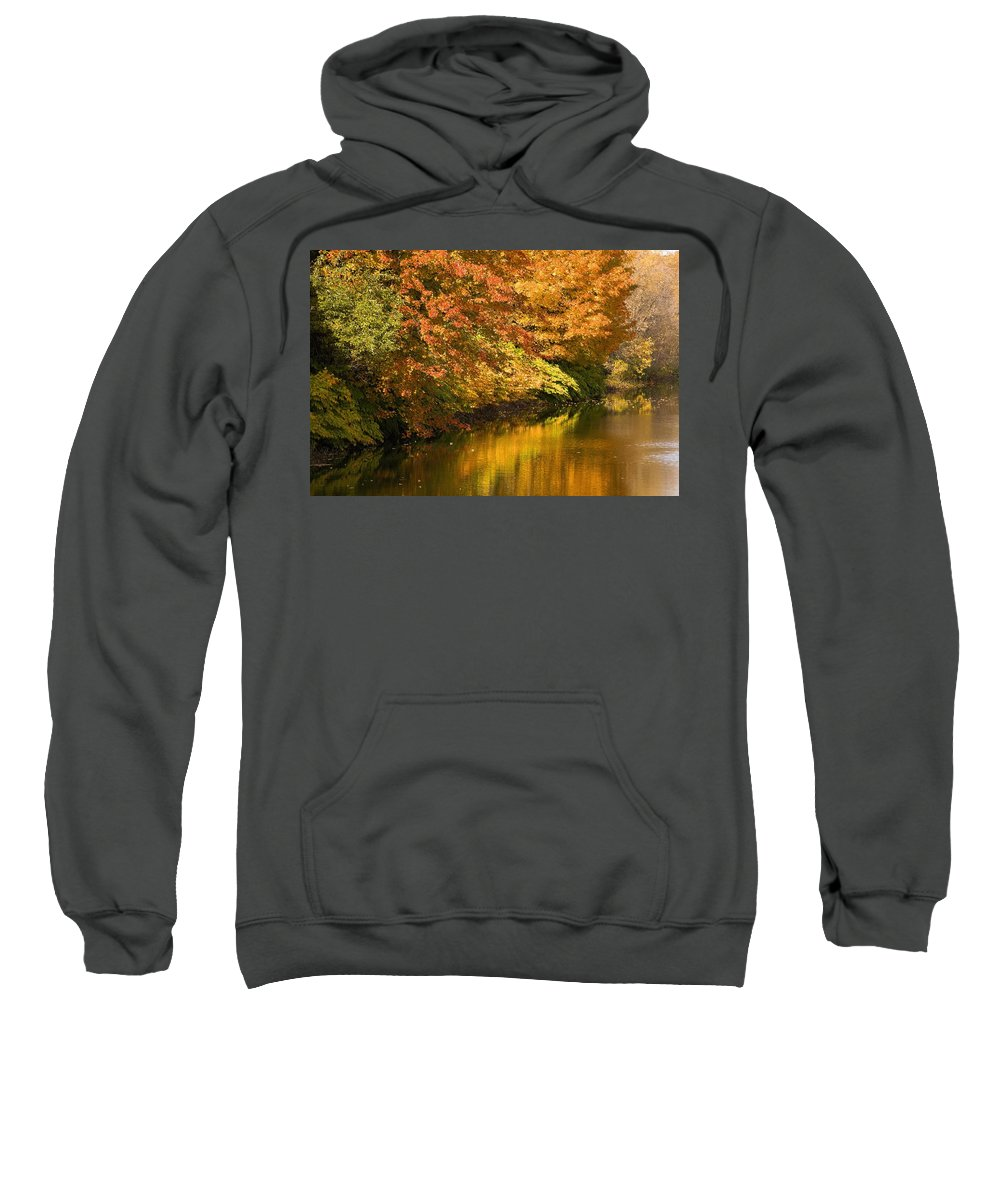 Color Image Sweatshirt featuring the photograph Lake And Forest In Autumn by David Chapman